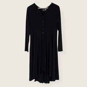 Sympli Black Button Front Long Sleeve Midi Dress